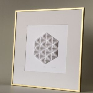 Shallow golden matted frame.