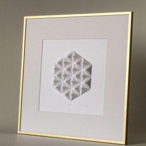 Shallow golden matted frame.